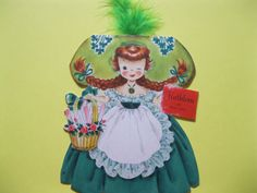 1949 Hallmark KATHLEEN OF IRELAND Dolls of the Nations 2-Sided Greeting Card--Beautiful Artwork