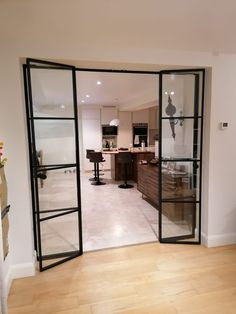 All our wall partitions are made with custom sizes and bespoke design. Find more at our webpage Glass Partition Wall, Glass Room Divider, Room Divider Doors, Wall Partition Design, Room Doors, Glass Partition Designs, Glass Wall Design, Internal Sliding Doors, Internal French Doors