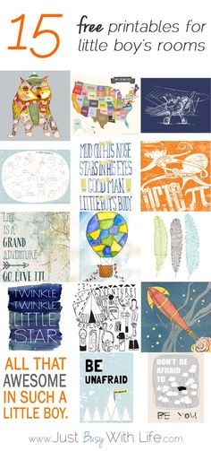 A Round-Up of 15 Free Printables For A Little Boy's Room Or Nursery - JustBusyWithLife.com