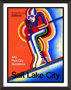 Vintage Salt Lake City Utah Ski Wall Art Decor by VIVIDEDITIONS, $14.95