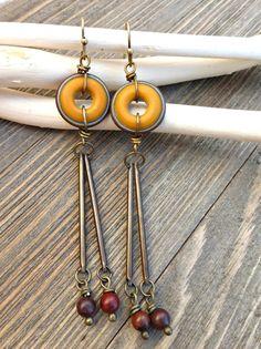 Ceramic round beads, stone and bronze metal earrings. Yellow, orange, dark red.