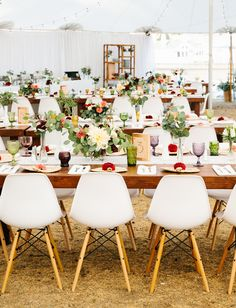 Coastal California Wedding with white shell chairs
