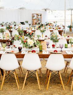 Coastal California Wedding with white shell chairs