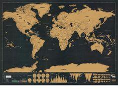 Wereld Scratch Map    Als je veel reist heb je veel te vertellen, met deze fantastische Wereld kraskaart kun jij iedereen laten zien waar je bent geweest. Kras de toplaag van deze wereldkaart weg en de landen komen mooi gekleurd tevoorschijn, zo kun je in één oogopslag zien waar je bent geweest. De scratch Map is gedrukt op dik hoogwaardig karton en heeft een afmeting van 59,5 hoog cm x 82,5 cm breed.
