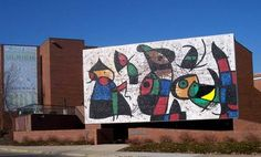 Ulrich Museum of Art - Wichita State University campus. The Miro mosaic on the exterior of the building has been temporarily disassembled for repairs.