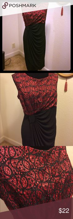 Enfocus Women Night Out Dress Beautiful Asymmetrical Drape Enfocus Women Dress. Well love, has been worn and wash per instructions. Has no holes, stains or defects. Does have some wrinkles. Dress has stretch to it, is very comfortable and very fun to wear on a night out or Simi formal event. Enfocus Women Dresses Wedding