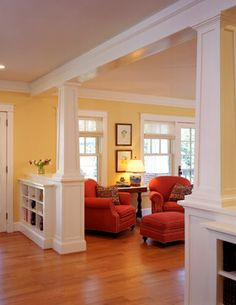 half wall with columns and built ins