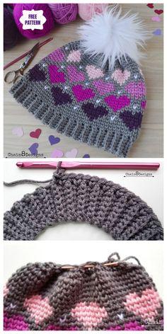 Crochet Twitterpated Heart Beanie Hat Free Crochet Pattern