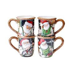 Certified International Santa's Workshop Assorted Mugs Set of ($40) ❤ liked on Polyvore featuring home, kitchen & dining, drinkware, holiday mugs, santa claus mugs, certified international and santa mugs