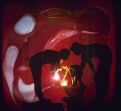 Not published in the original story in LIFE.Artists Rudi Stern (left) and Jackie Cassen work on a psychedelic slide show at the Riverside Museum in New York City, 1966.