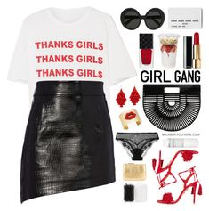 """Girl Pride"" by mylkbar ❤ liked on Polyvore featuring STELLA McCARTNEY, Helmut Lang, Linda Farrow, Aquazzura, Chanel, Cult Gaia, Gucci, Forever 21, La Perla and Korres"