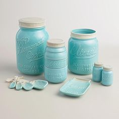LOVE this Tiffany Blue Mason Jar Ceramic Canister Set.  One of the canisters breaks down into measuring cups.  The salt and pepper shakers are adorable as well.