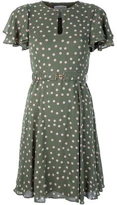 Paul & Joe Green Belted Polkadot Dress