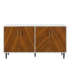 Modern White & Teak Bookmatch Console Table