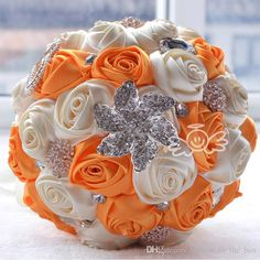 Charming Wedding Bride 's Bouquet Holding Flowers Wedding Bouquet Crystal Brooch Pearl Beaded Satin Rose flowers Orange Silk Roses Free ship