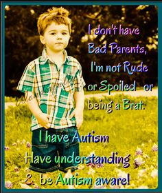 "I was talking with my hairdresser telling him about my sons diagnosis and what life is like with an autistic preschooler. I told him "" you know the kid in Walmart you can hear all over the store? That's mine... He said I'm glad you shared that, I just always assumed those kids just needed a spanking. Jack is a sweet high anxiety kid and this helps others understand just a little."