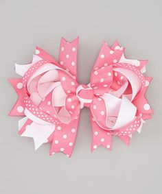 Look what I found on #zulily! Pink Polka Dot Double Princess Bow Hair Clip #zulilyfinds