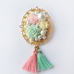 Alice In Wonderland Rose Tea Party Brooch