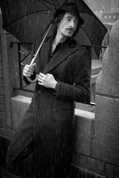 Adrien Brody wet in the rain