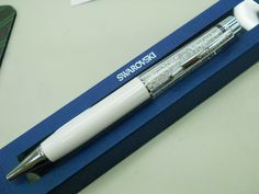 This Swarovski White Pearl ballpoint pen glitters and gleams for writing bling!