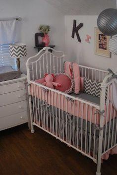 Grey Chevron, pink swiss dot crib bumper