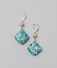 Take a look at this Turquoise & Gold Square Drop Earrings by Embassy Jewels on #zulily today!