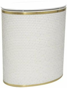 Capri Classic Bowed Front Hamper 2270WHGD by Redmon. $92.65. Oval shaped wicker hamper with matching vinyl lid. Brushed metalized trim around top and bottom. Quality materials and construction, made in USA. Made in USA. Capri Classic Reflections combines style and resource. The traditional wicker base is matched with a vinyl lid.