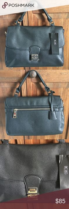 BCBG Black Shoulder/Elbow Bag NWT. BCBG black leather shoulder/elbow bag. No scuffs, stains, or marks. Brand spankin' new! Gold flip closure. Black interior with zipper pocket & phone/pen pockets. Adjustable shoulder strap is also included. Can fit a small tablet plus much more! OFFERS WELCOMED. BCBG Bags Shoulder Bags