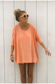 coral oversized sweater!!