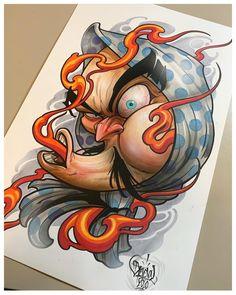 Tengu Tattoo, Tattoo Daruma, Samurai Tattoo, Tatuaje Tengu, Japanese Mask Tattoo, Tattoo Studio Interior, Mangas Tattoo, Japan Tattoo Design, Traditional Tattoo Design