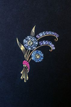 Drawing of a gold brooch with two sapphire flowers (Reflection Series), American, 1930s–1950s.