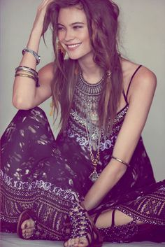 Boho maxi dress and statement jewellery with great messy hair. Behati prinsloo for free people.