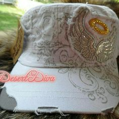 """Wings & Hallo Cadet Cap Adjustable 26"""" full circumference with strap, distressed. Accessories Hats"""