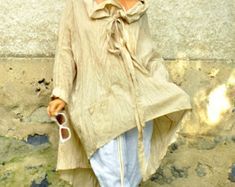 Oversize summer top and pants/White 100% linen SET/Casual Top