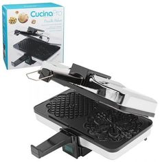 CucinaPro Black Non-Stick Pizzelle Waffle Maker - The Home Depot - wanda Pizzelle Maker, Pizzelle Cookies, Waffle Cookies, Bar Cookies, Chocolate Pizzelle Recipe, Home Depot, Cannoli Shells, Cookie Gifts, Cookie Tray