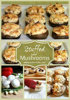 Stuffed Mushroom Caps {Via @SoberJulie}