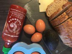the ingredients for a sriracha egg bite breakfast