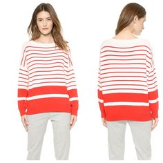 Vince Banded Rib Cashmere Sweater Graduated stripes bring pops of color to this cashmere Vince sweater. Ribbed edges and long sleeves. Fabric: soft fine knit. 100% cashmere. Dry clean. Color is Tomato/Off White. SK0601160 Vince Sweaters Crew & Scoop Necks