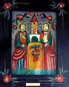 Sfinții Apostoli Petru și Pavel icoană naivă pictată pe dosul sticlei în ulei pictură tradițională lucrare de artă religioasă ortodoxă St Peter And Paul, New Mexican, Art Icon, Orthodox Icons, Medieval Art, Sacred Art, Religious Art, Folk Art, Christian