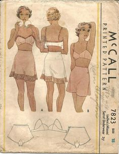 1930s Tap Panties Side Buttoning and Bandeau Bra Women's Underwear ORIGINAL McCall 7823 ©1934 Bust 36 Women's Vintage Sewing Pattern