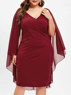 e39fa7f5d7 Surplice Neck Plus Size Overlay Dress Spring Dresses Casual