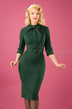 1940s Style Dresses and Clothing 40s Gina Pencil Dress in Green £90.91 AT vintagedancer.com