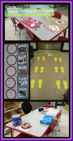 Schedule visuals and feet on the floor are key visuals along with setting up activities before students arrive