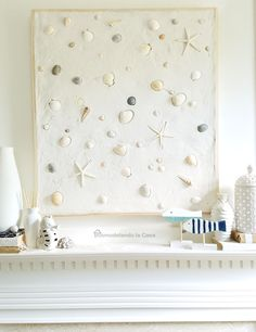 The best DIY projects & DIY ideas and tutorials: sewing, paper craft, DIY. Diy Crafts Ideas Remodelando la Casa: Summer Mantel with Seashells On the Beach Artwork -Read Beach Cottage Style, Beach House Decor, Diy Home Decor, Beach Artwork, Beach Wall Art, Seashell Crafts, Beach Crafts, Diy Crafts, Summer Mantel