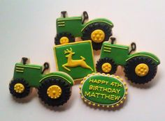 Fix John Deere Tractors 67835538126143713 - John Deere Tractor Cookies Farm Cookies, Cut Out Cookies, Iced Cookies, Cute Cookies, Sugar Cookies, John Deere Party, Happy 4th Birthday, 2nd Birthday, Birthday Cookies