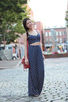 4095357177db Leah♥穿搭:圓點polka dots寬版連身長褲是今年王道阿