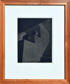 """Pam Ackerman Taos Pueblo Pots 1982 $850  This etching is a study in light and shadow of Taos pueblo pots (Georgia O'Keefe's Adobe staircase) by Santa Cruz, California artist Pam Ackerman. Edition number A/P. Image, 10.25""""H x 7.75""""W  For more information: https://www.1stdibs.com/art/prints-works-on-paper/interior-prints-works-on-paper/pam-ackerman-taos-pueblo-pots/id-a_2127353/"""