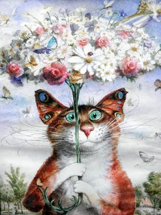 Vladimir Rumyantsev butterfly with cat world oil painting wall Art Picture Paint on Canvas Prints wall painting no framed Art And Illustration, Cat Illustrations, I Love Cats, Crazy Cats, Cute Cats, Foto Fantasy, Image Chat, Photo Chat, Wall Art Pictures