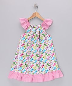 Look what I found on #zulily! Pink Bird Angel-Sleeve Dress - Infant, Toddler & Girls #zulilyfinds