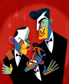 The Rat Pack: Sammy Davis Jr., Frank Sinatra, and Dean Martin, signed and numbered by the artist Dean Martin, Humphrey Bogart, Person Cartoon, Caricature Artist, Funny Illustration, Canvas Signs, Canvas Art, Poster Prints, Art Prints